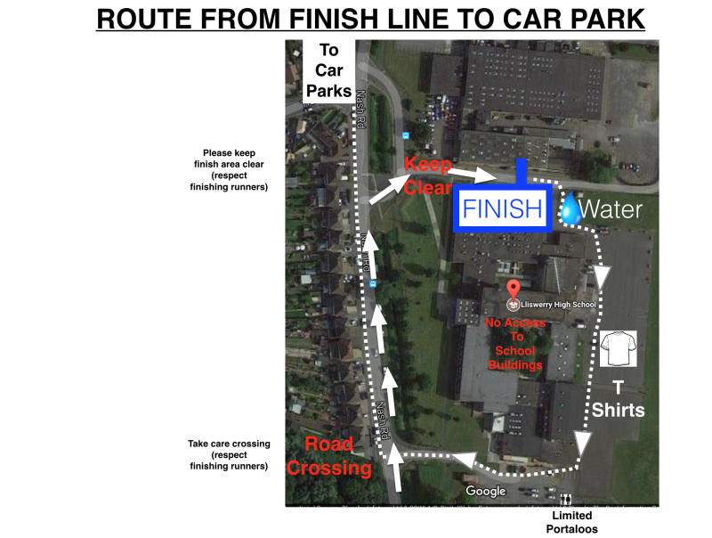 Route from Finish back to car park